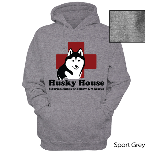 Image of Grey Pull Over Hooded Sweatshirt - Full Front Logo